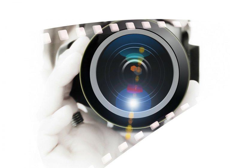 camera, hand, lens