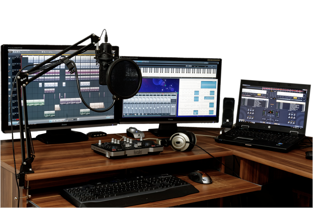 studio, music, mixer